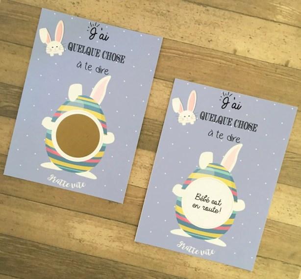 Annoncer sa grossesse à Pâques à l'aide de carte à gratter petit lapin   A découvrir sur le blog : babyshowercreative.com