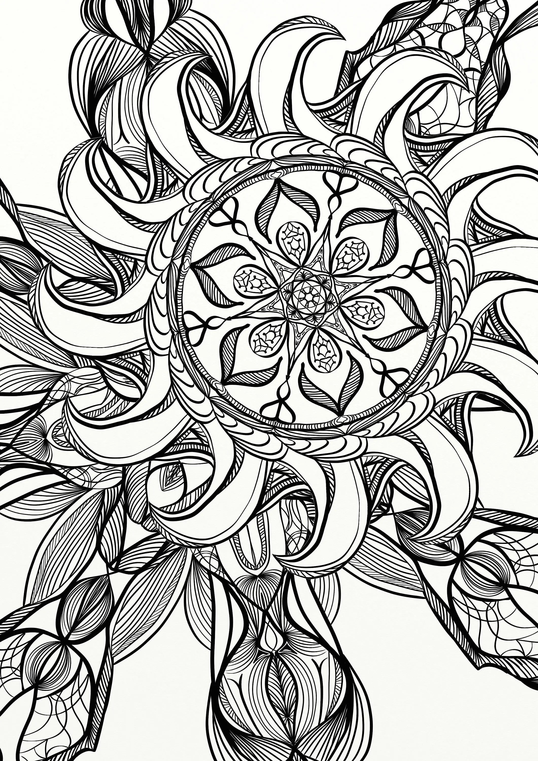 Mandala Spiral Relaxing Adult Coloring Page | Etsy | cool coloring pages for adults printable
