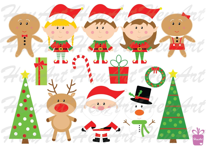 Cute Christmas Clipart Set Cute Santa Printables Cute