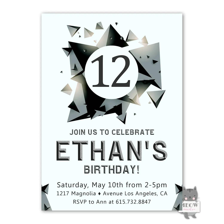 12th Birthday Invitation For A Boy 12th Birthday Party Invite Boy S 12th Birthday Skate Park Party Rock Climbing Birthday Invitation