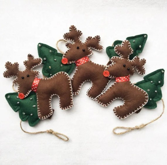 Reindeer & Christmas Tree Felt Garland