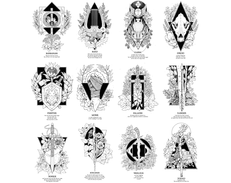 Secrets 12 A5 D Amp D Class Prints Including Barbarian Bard