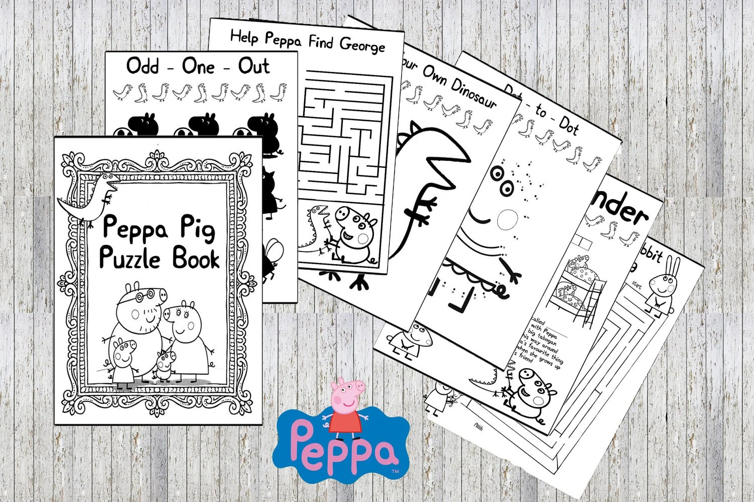 Peppa Pig Printable Puzzle Quiz Colouring Book Ideal