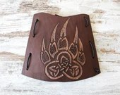 Brown archery armguard, leather accessory for LARP, bear paw Celtic design, high leather cuff with handmade decoration, bowman gift idea