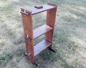 Small medieval shelf with tree shelves, exhibitor for didactic, interlocking furniture for middle age reenactment, medieval camp accesory