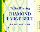 Large belt tablet weaving pattern diamond, card weaving tutorial for beginners, medieval weaving