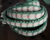Viking woven belt women, arrow pattern pink beige green, medieval dress decoration, ladies belt, card weaving braid, tablet woven string