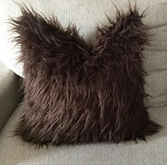 brown pillow cover brown faux fur pillow brown decorative pillow fur brown throw pillow chocolate brown pillow cover fur throw pillow