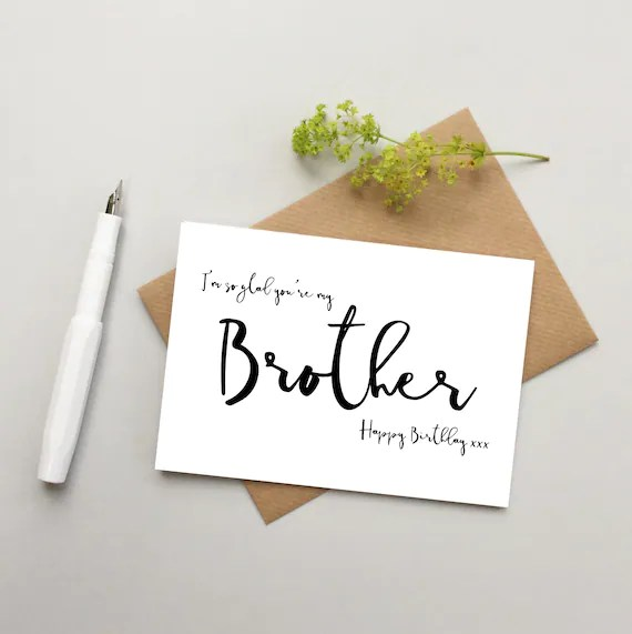 Brother Birthday Card Brother Card Card For Brother Happy Etsy