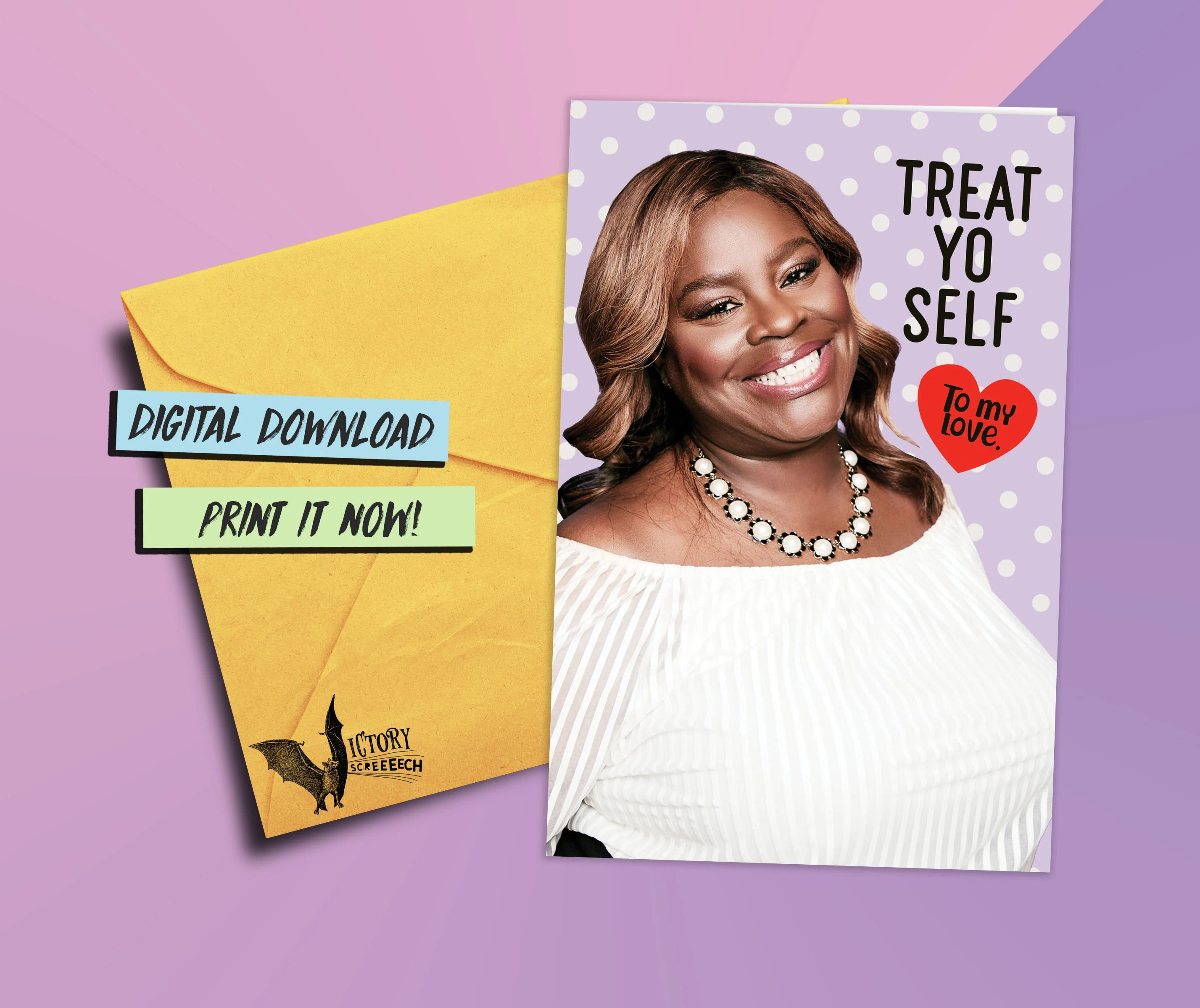 Donna Meagle Treat Yo Self Printable Card Parks And Recreation Funny Cards For Him Boyfriend Coworker Gifts Pawnee Valentine Parks Rec