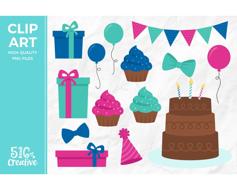 Birthday Party Clip Art Birthday Presents Clipart Cake Clip Etsy