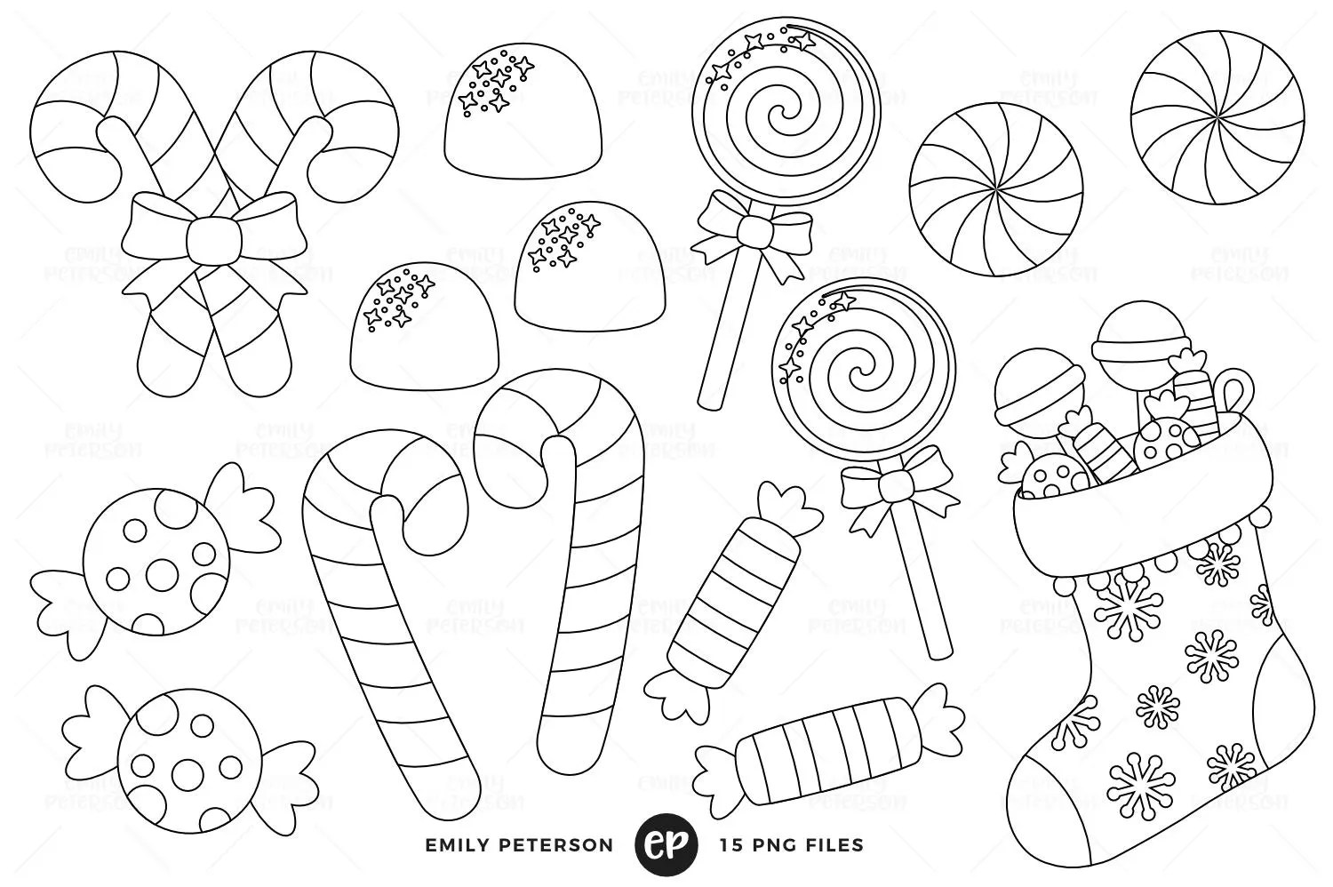 Christmas Candy Digital Stamps Candy Cane Line Art