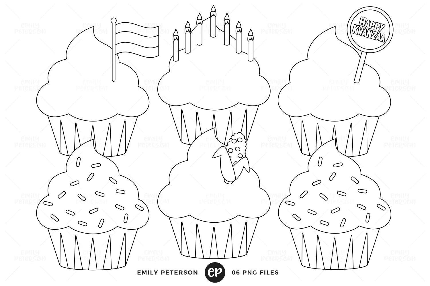 Kwanzaa Digital Stamps Cupcakes Line Art Holiday Cupcakes