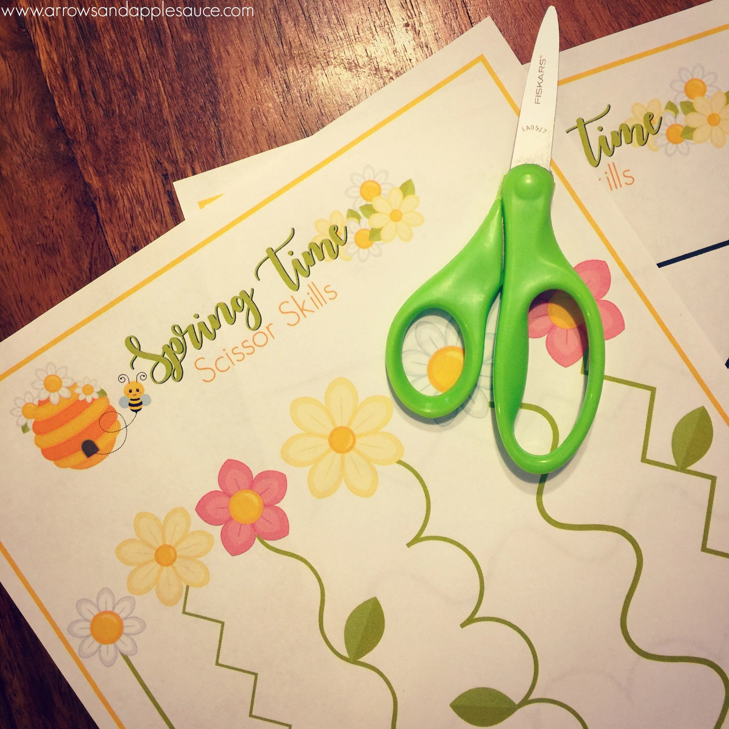 Spring Time Scissor Skills Printable Worksheet Preschool
