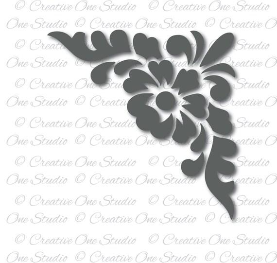 Download Floral corner design monogram Element SVG DXF eps Studio3 ...