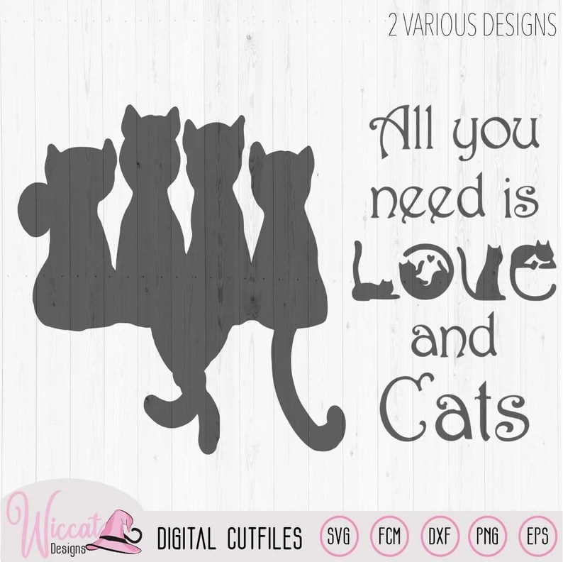 Download Doodle cats all you need is love cat quote word art ...
