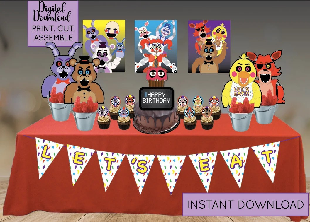 Five Nights At Freddy S Party Supplies Digital Download Etsy