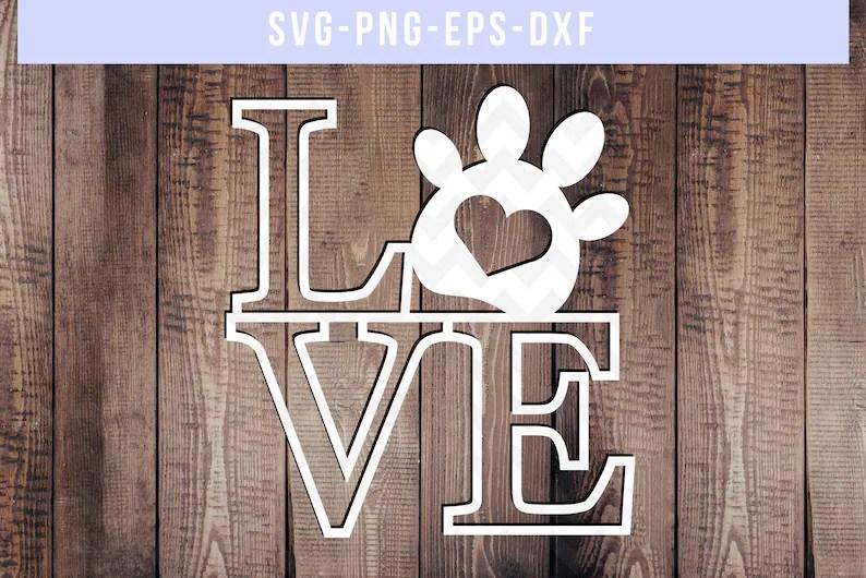 Download Love paw svg cut file dog wood sign svg commercial use dog ...