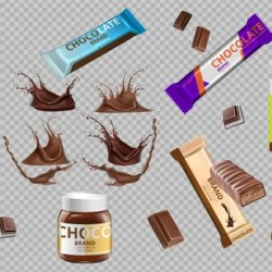 Eps 10 Digital Vector Realistic Chocolate Bars And Milk Bottle Etsy