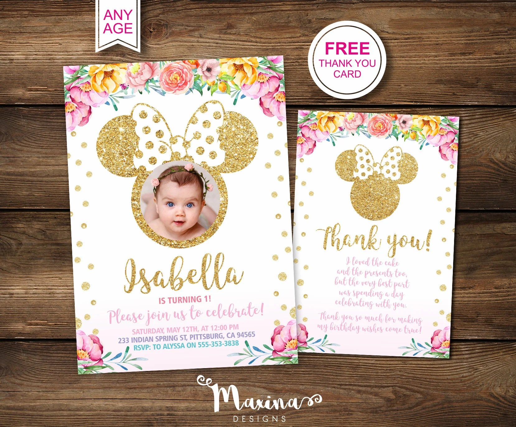 minnie mouse invitation 1st birthday invitation first birthday party decor minnie mouse party baby girl invitations photo invitations