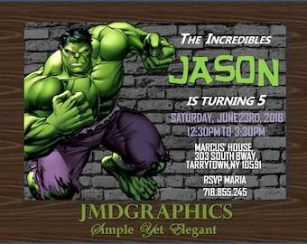 hulk invitations etsy