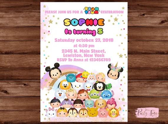 Tsum Tsum Invitation Disney Tsum Tsum Birthday Party Invite Etsy