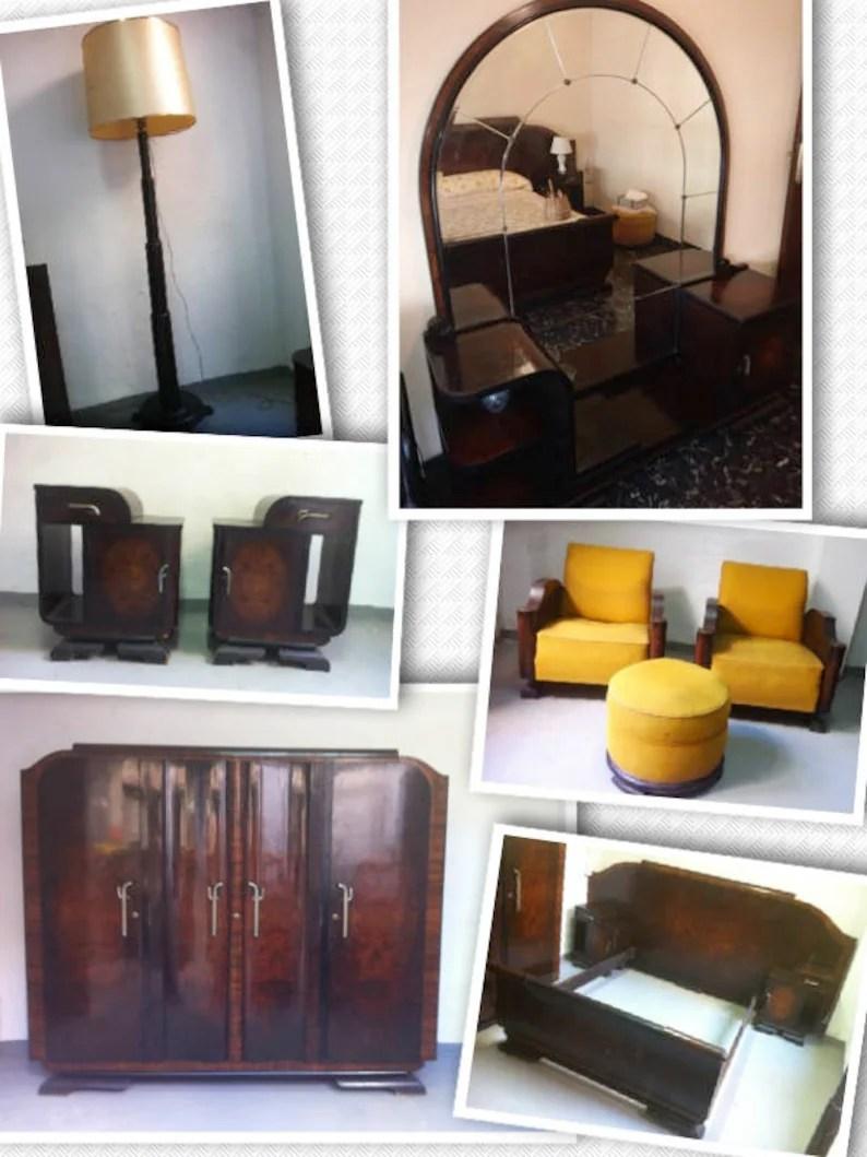 Vintage Art Deco Bedroom Suite Set Solid Walnut Furniture Spain 1940s 9 Pieces