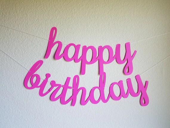 Pink Happy Birthday Banner Pink Cursive Birthday Banner Pink Etsy