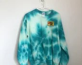 Have a Nice Day Tie Dye Sweatshirt with Embroidered Patch (M)