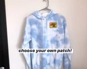 Tie Dye Hoodie with optional Embroidered Patch (S)