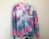Tie Dye Hoodie with gold star Patch (M)