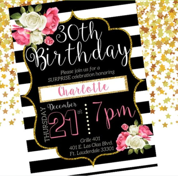 beautiful elegant classy pink and white flowers roses black and white background 30th birthday invitation gold sparkles digital