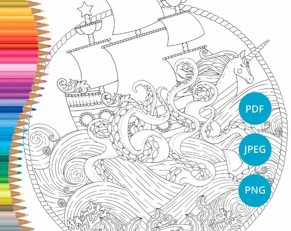 Pirate Ship Coloring Pages Printable Pirate Ship Coloring Etsy