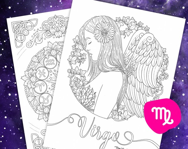 Virgo coloring page from Faces of the Zodiac Printable adult  Etsy