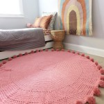 Pink Kids Toddler Baby Nursery Rug Play Mat Pom Poms 100 Cotton