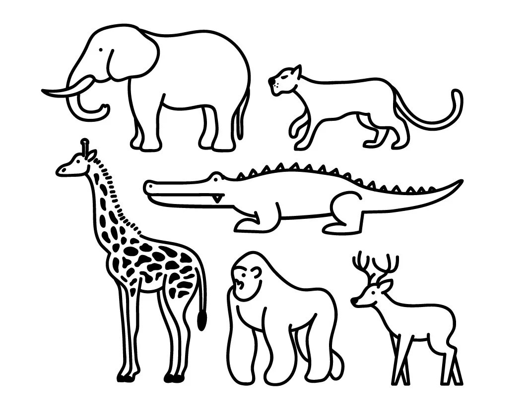 Wild Animal Clipart Animal Graphic Icon Design Outline