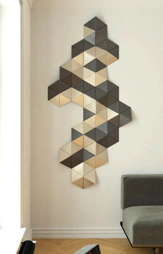 Gold Wall Decor Geometric Wood Art 3d Wall Sculpture Wood Etsy