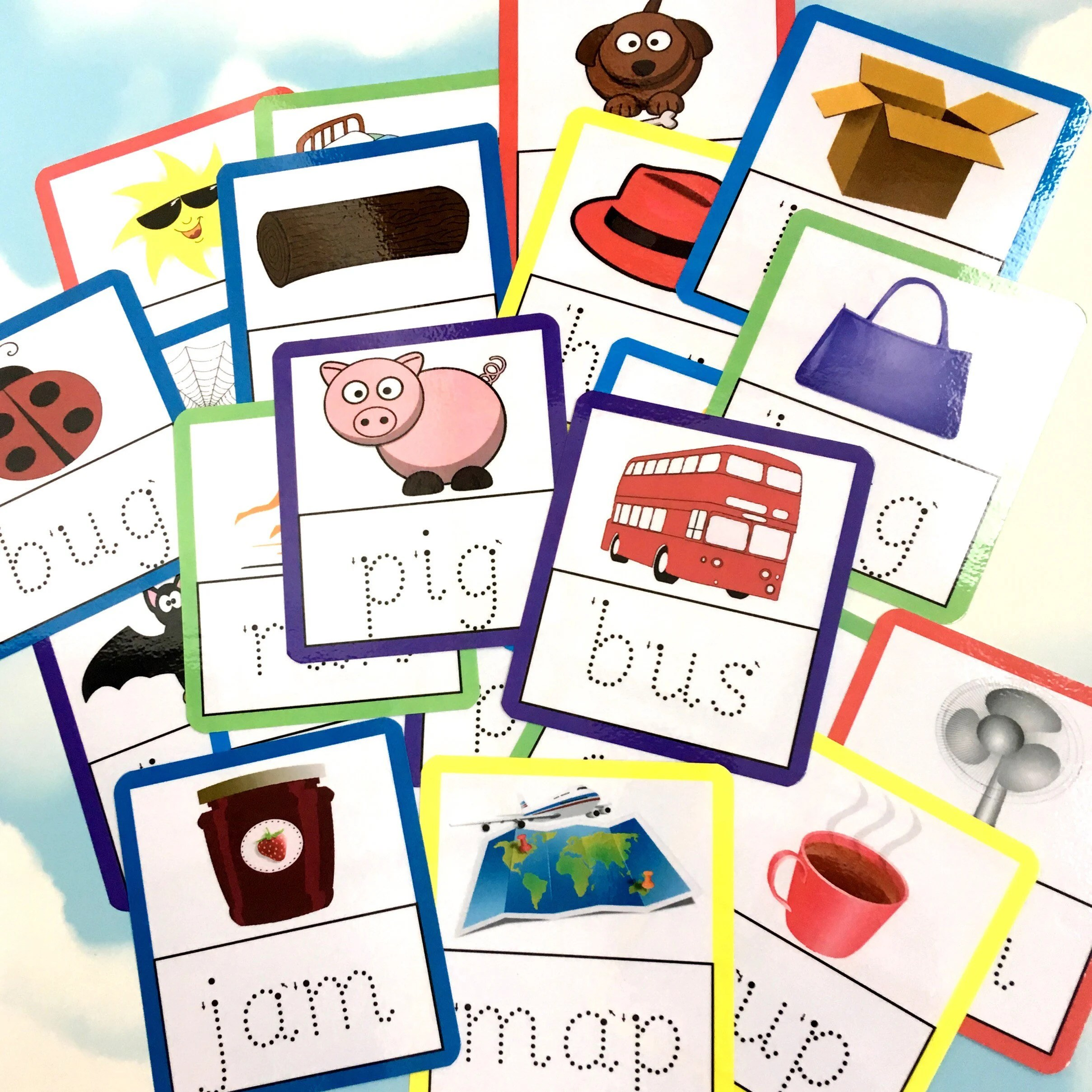 Tracing 3 Letter Words Flash Cards Nursery Early Years