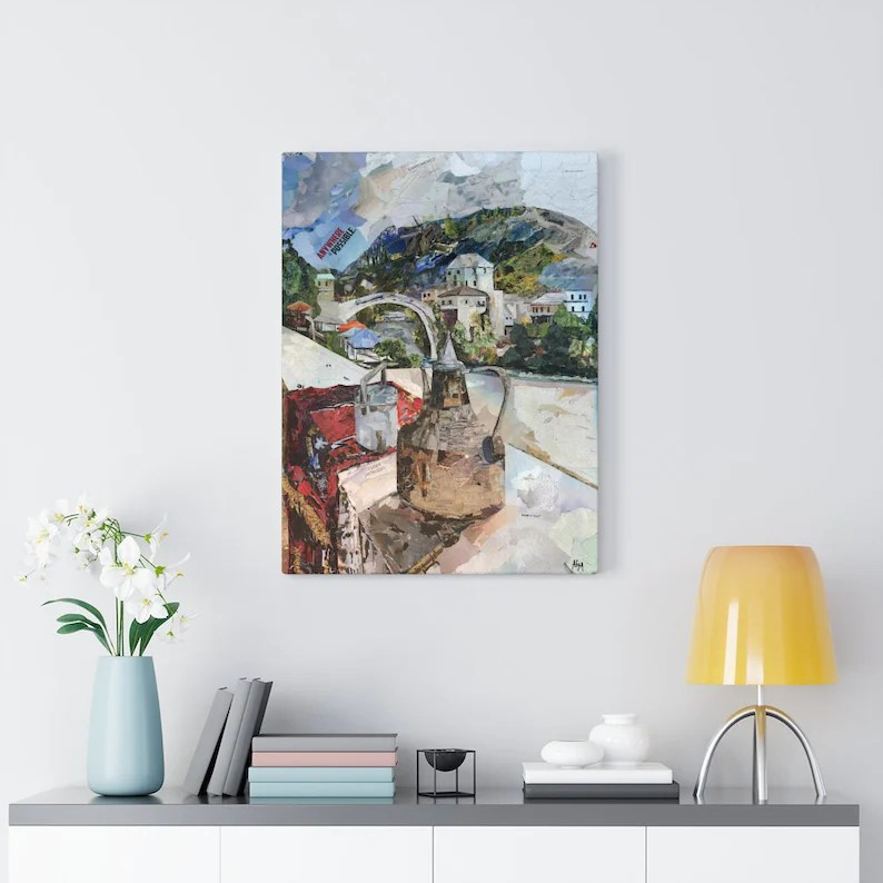 Bosnia Old Bridge Mostar Quality Canvas Wall Art Print image 3