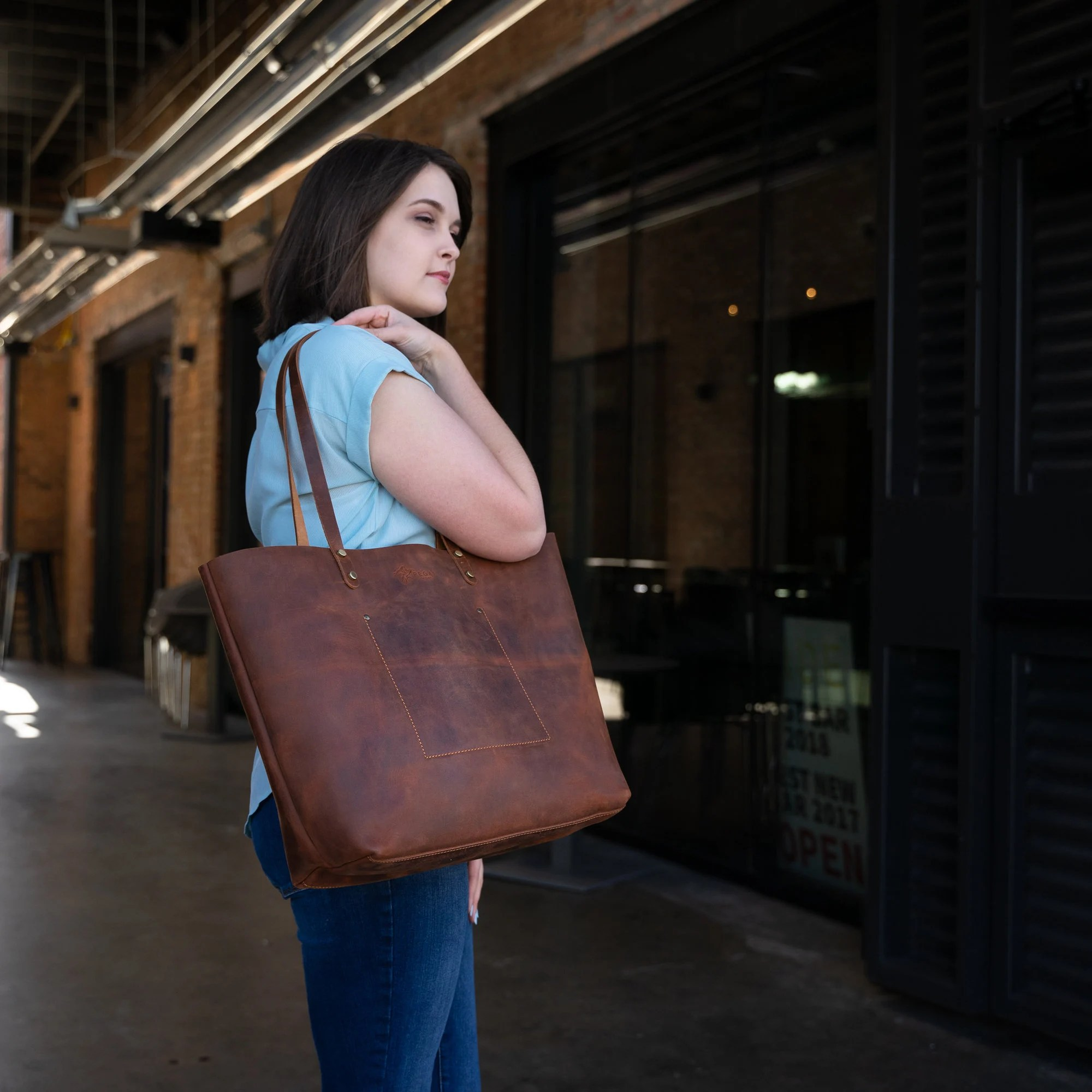 Handcrafted Leather Tote SALE Tote w Zipper and Pocket Mahogany Brown