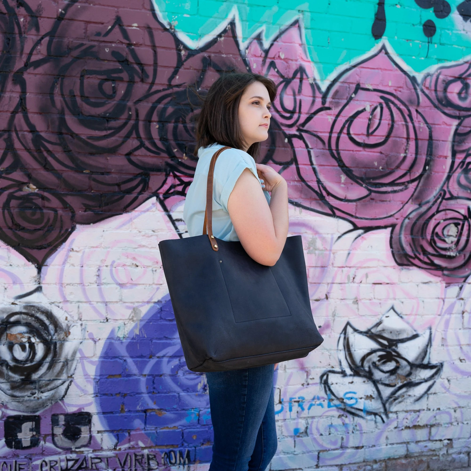 Handcrafted Leather Tote SALE Tote w Zipper and Pocket Charcoal Black