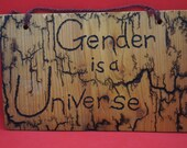 Gender is a Universe sign, Lichtenberged - medium