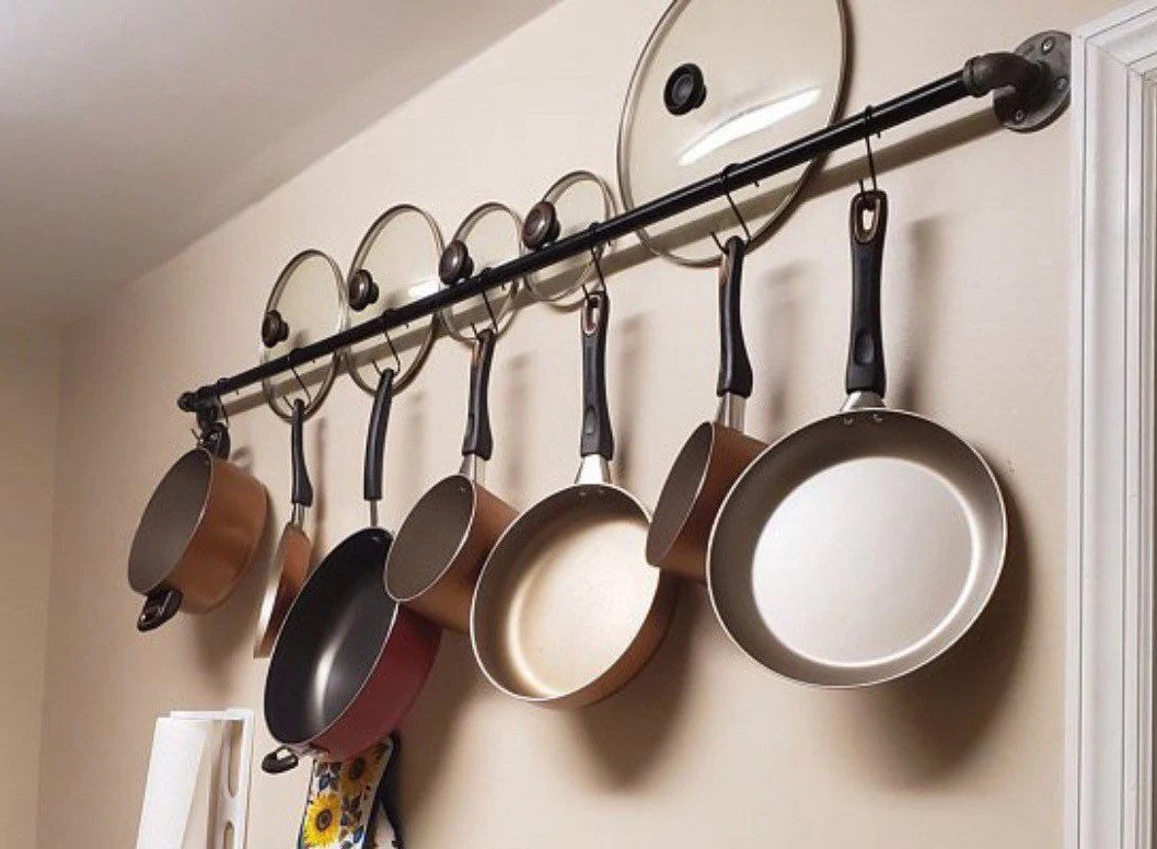kitchen pots and pans hanging wall storage hanging rack kitchen rack