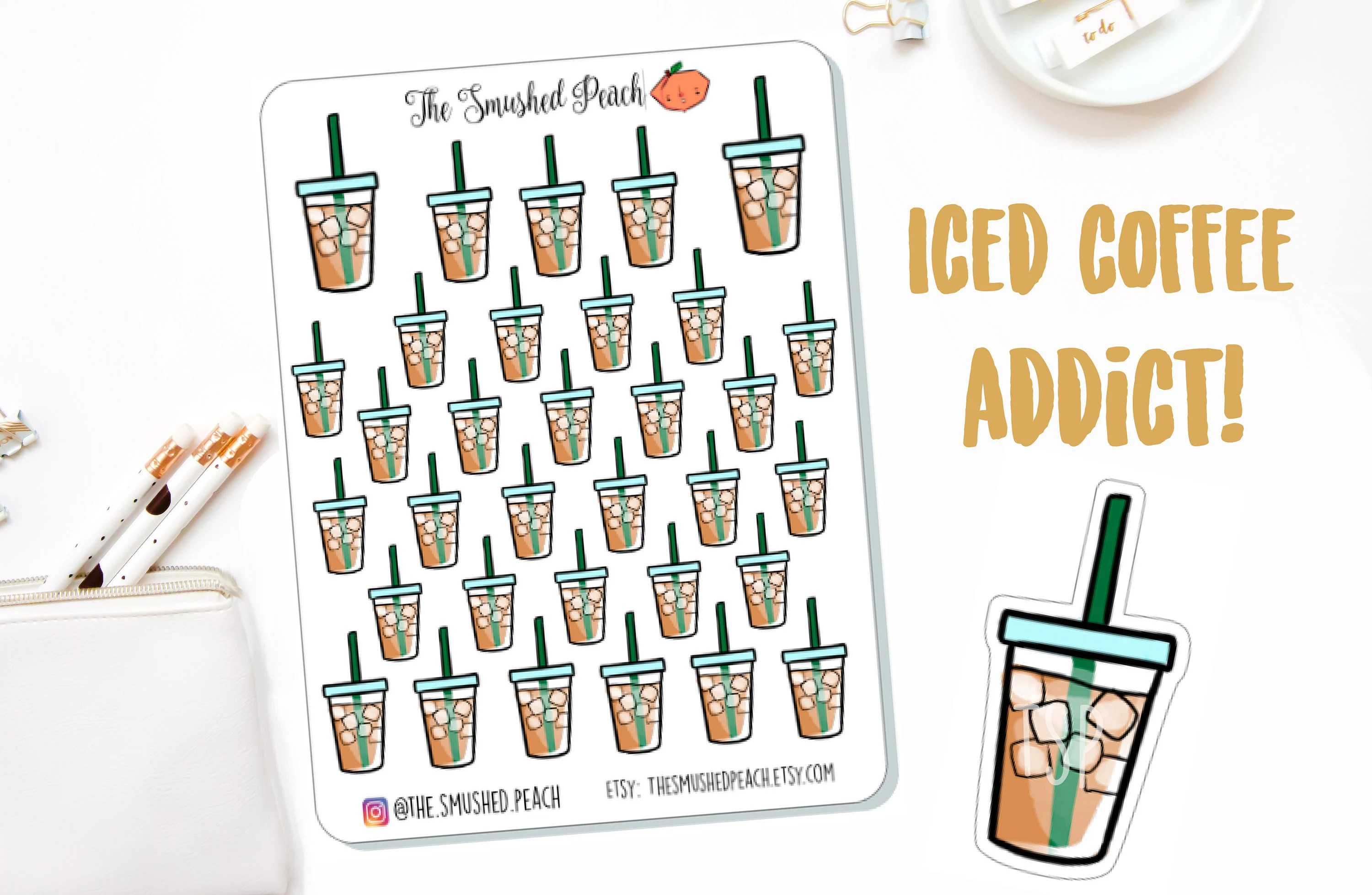 Iced Coffee Lover Doodle Planner Sticker Sheet For Erin Etsy