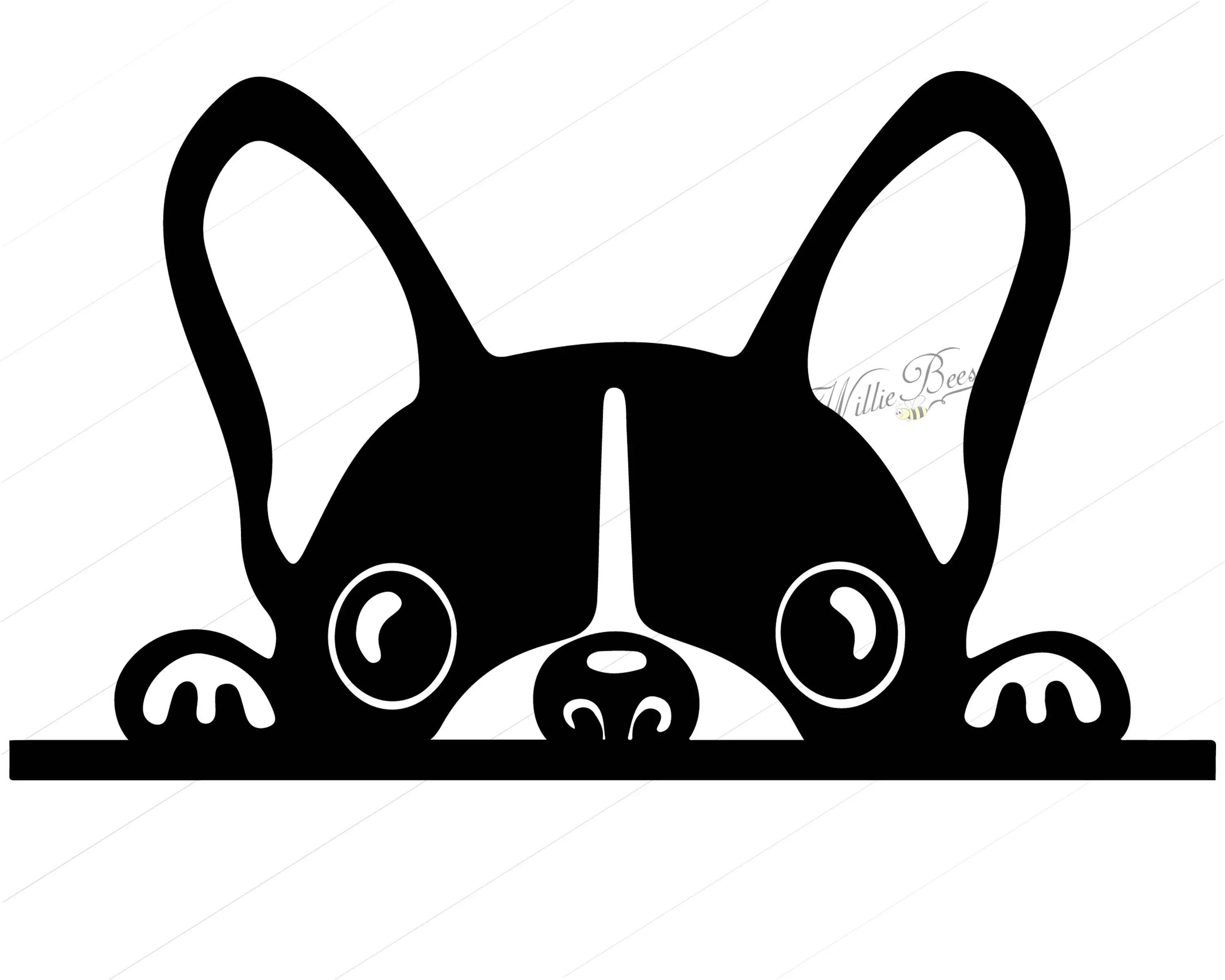 Peeking Dog SVG Silhouette Clipart Canine Clipart Image