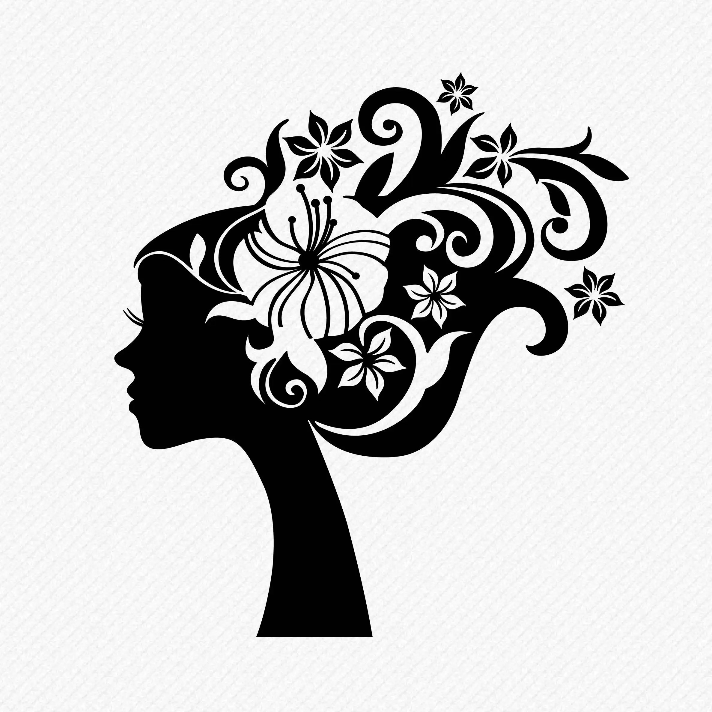 Girl With Floral Hair Silhouette Floral Hair Clipart Lady