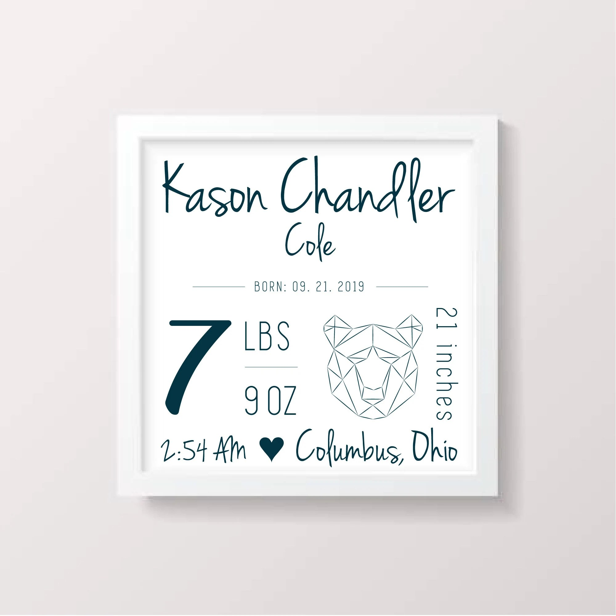 Birth Announcement Sign Baby Newborn Stats Birth Stats Sign Etsy