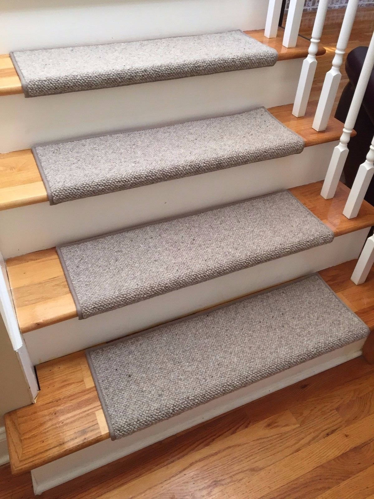 Alfa Stone 100 Wool True Bullnose™ Padded Carpet Stair Tread | Individual Stair Carpet Treads | Non Slip Stair Runner | Flooring | Slip Resistant | Anti Slip | Beige