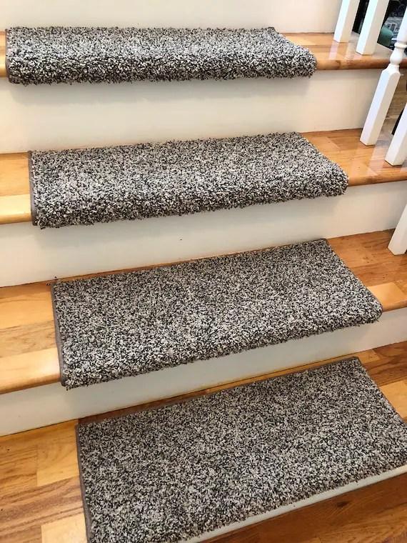 Beach B*M True Bullnose™ Padded Carpet Stair Tread For Etsy | Grey Carpet Treads For Stairs | Wool Carpet | Indoor Outdoor | Skid Resistant | Custom Stair | Rugs