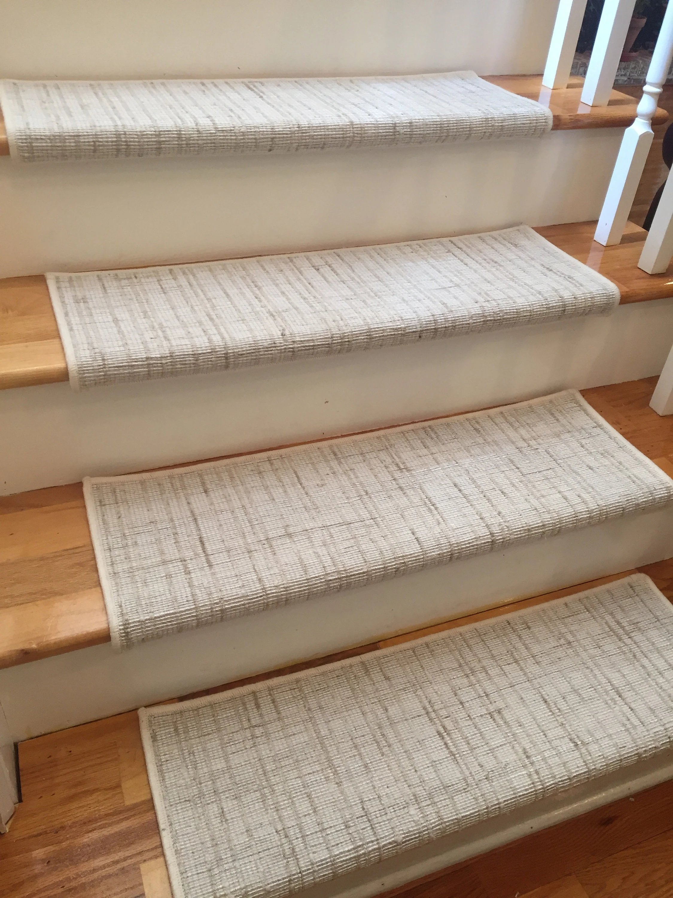 Texture Weave Ivory And Other Colors True Bullnose™ Padded   True Bullnose Stair Treads   Rug Runner   Stair Runner   Flooring   Basement Stairs   Comfort Safety